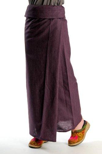 タイパンツ アジアン・エスニック ファッション の定番ストライプ織コットンユニセックスタイパンツは初心者さんもシルエットが綺麗に決まる M@T0505 [フリーサイズ ヨガパンツ] レディース靴 サンダル その他 :パープル