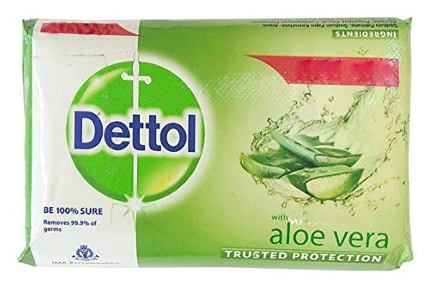 ナチュラルでる批判的Dettol Aloe Vera Bath Soap pack of 3nos x 100gms