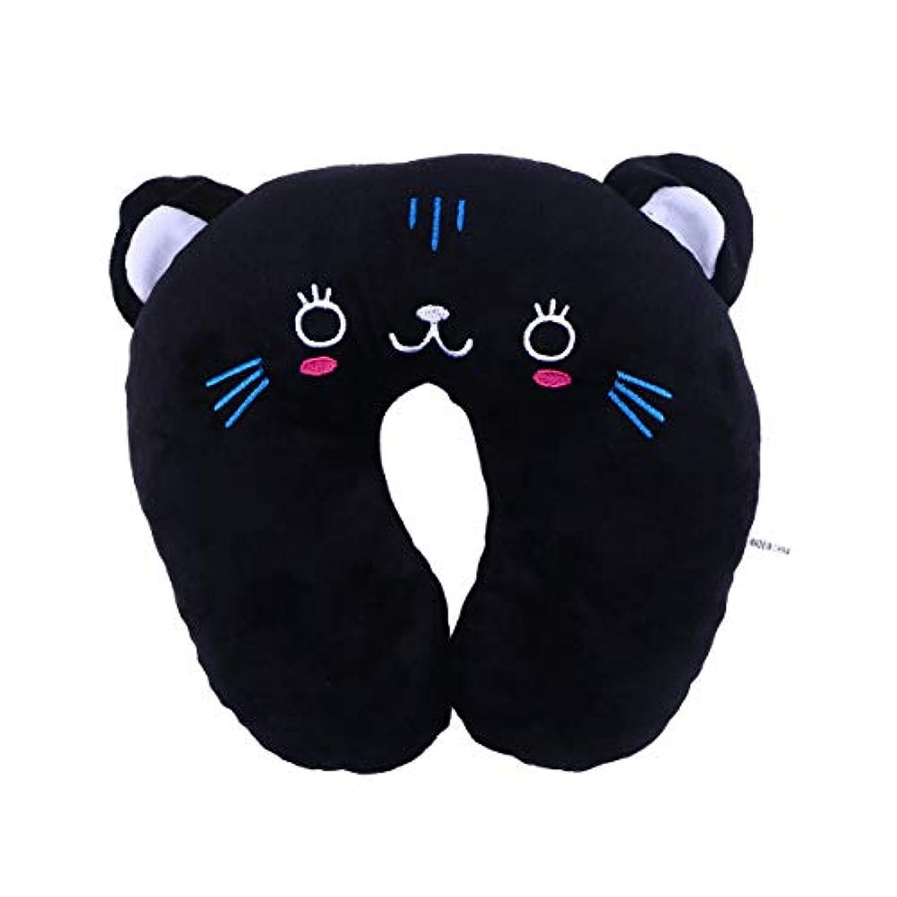 湿った逸脱快適HEALIFTY 首牽引枕漫画ぬいぐるみU字型枕首サポートクッション旅行枕飛行機のための車(黒猫)