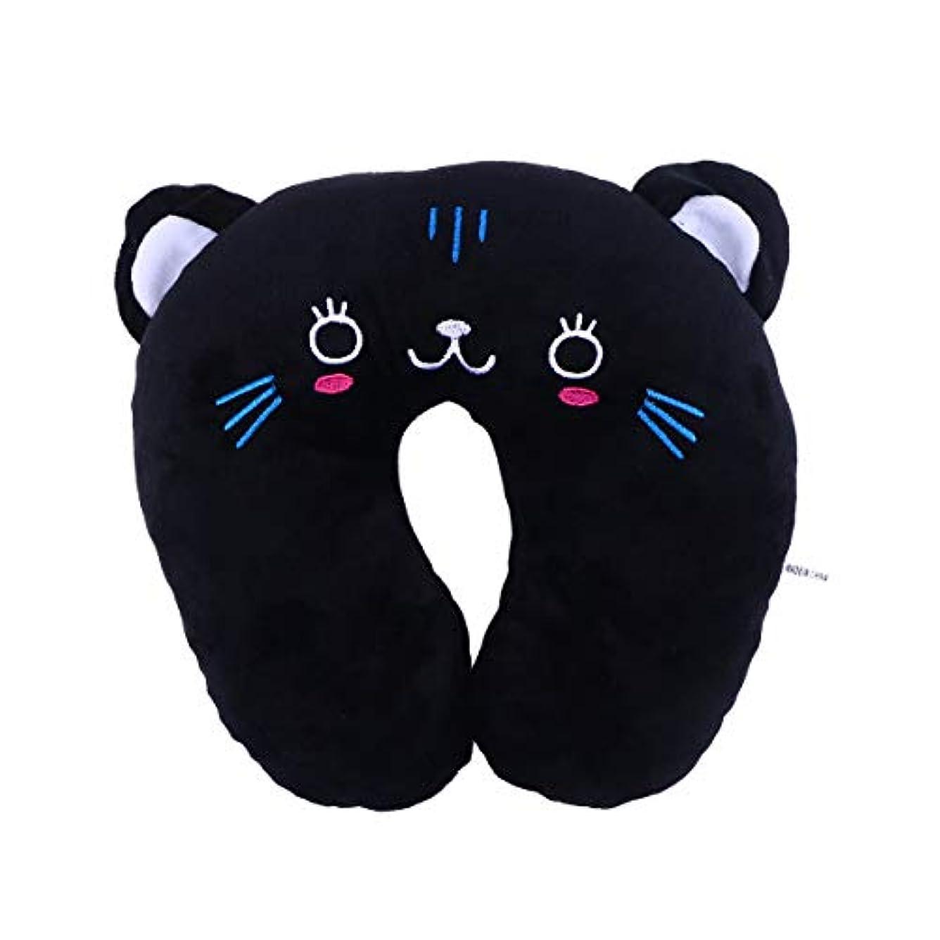 四回ラダ領域HEALIFTY 首牽引枕漫画ぬいぐるみU字型枕首サポートクッション旅行枕飛行機のための車(黒猫)