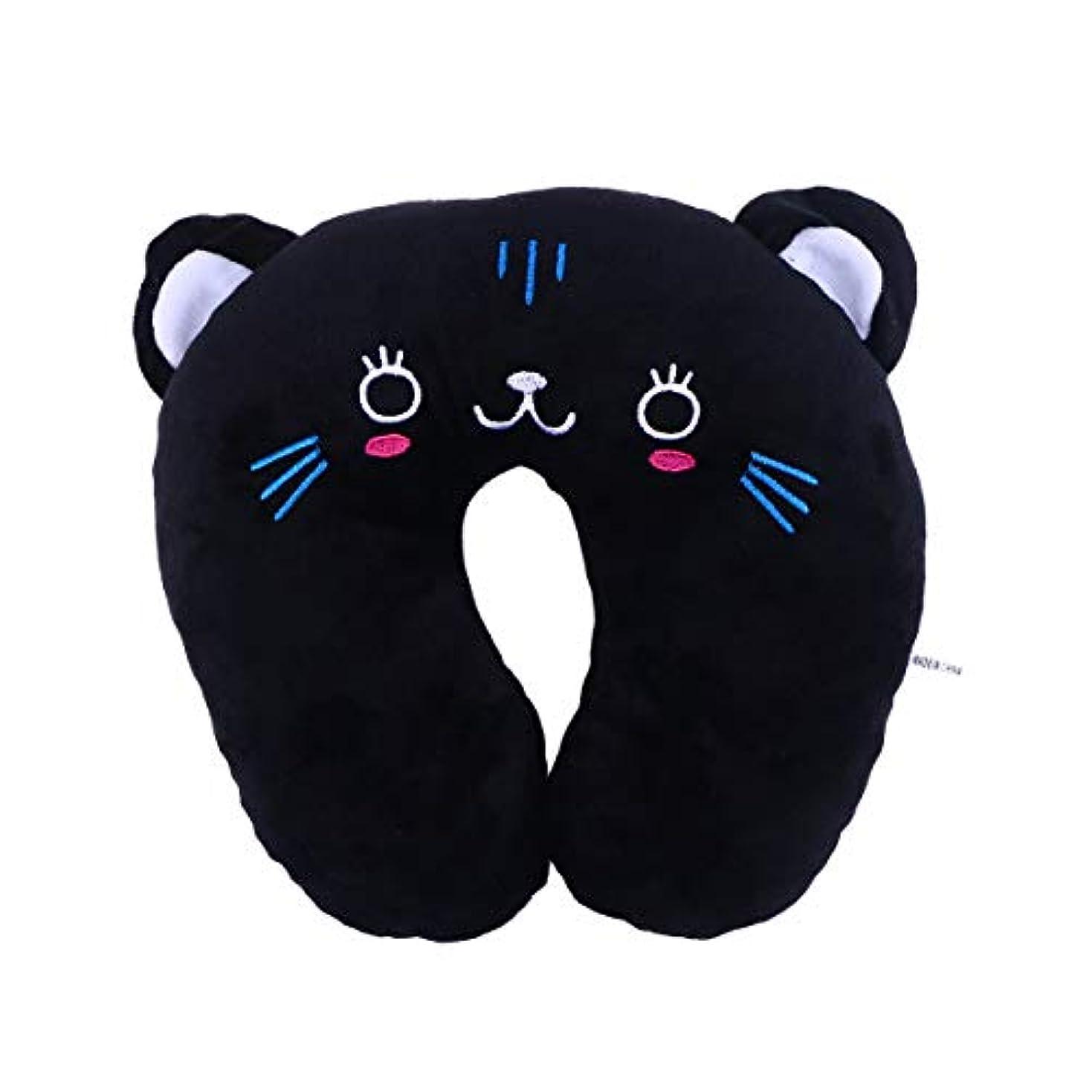 趣味曲がったマーチャンダイザーHEALIFTY 首牽引枕漫画ぬいぐるみU字型枕首サポートクッション旅行枕飛行機のための車(黒猫)