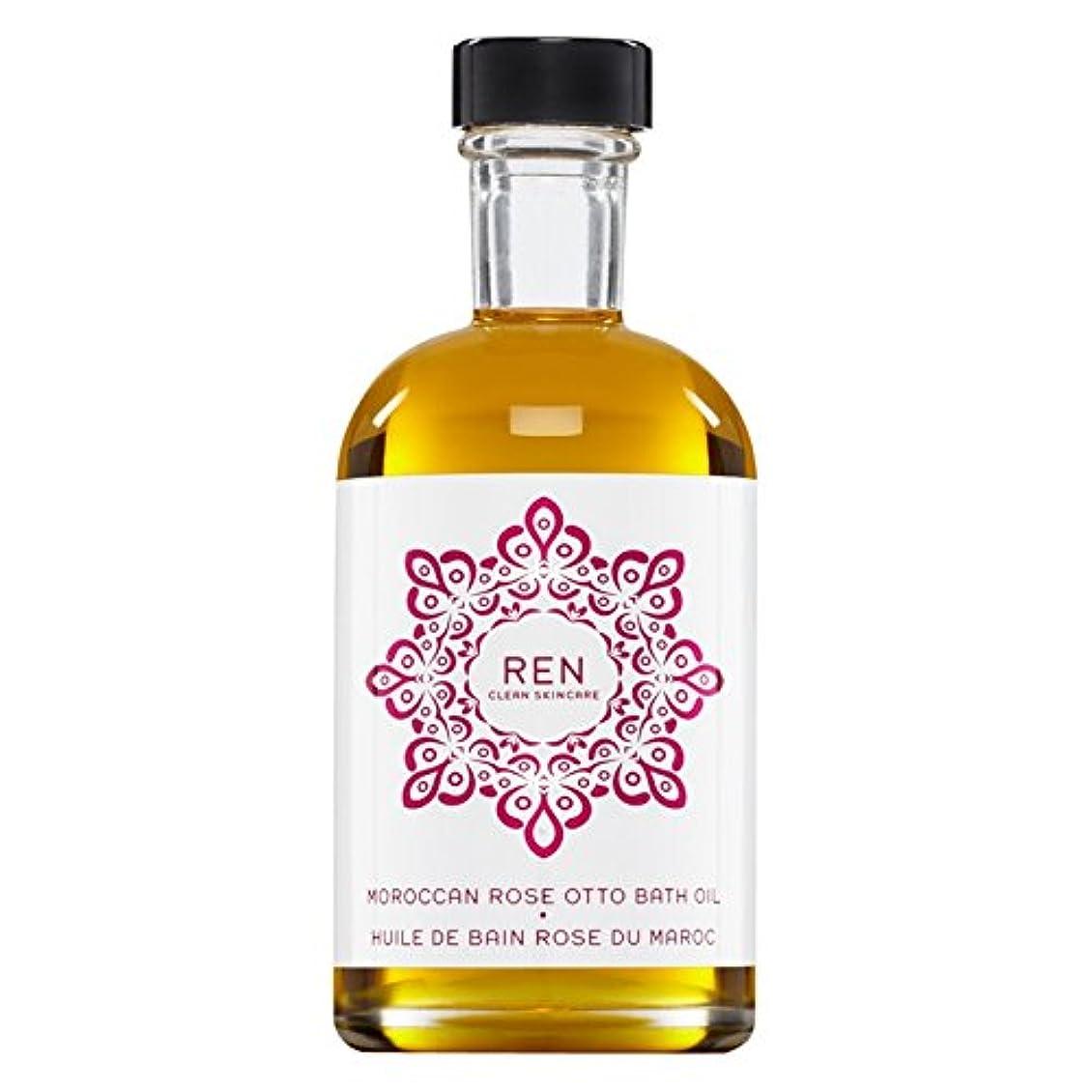 おいしいボタンホイッスルRenモロッコは、バスオイルの100ミリリットルをオットーローズ (REN) - REN Moroccan Rose Otto Bath Oil 100ml [並行輸入品]