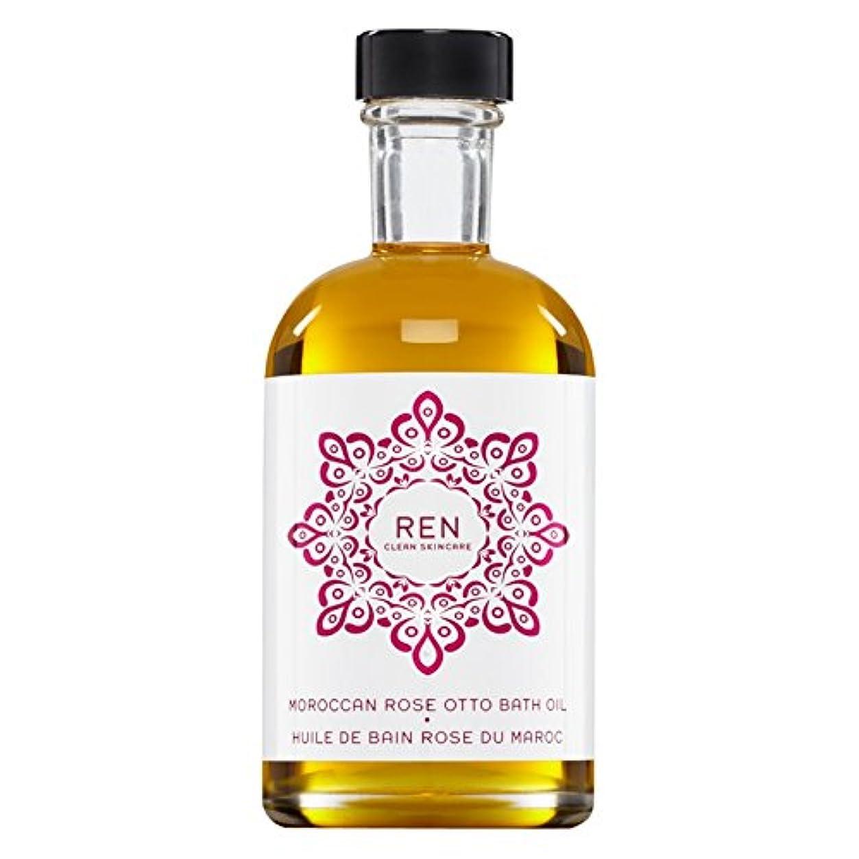 頬骨乱用過言Renモロッコは、バスオイルの100ミリリットルをオットーローズ (REN) - REN Moroccan Rose Otto Bath Oil 100ml [並行輸入品]