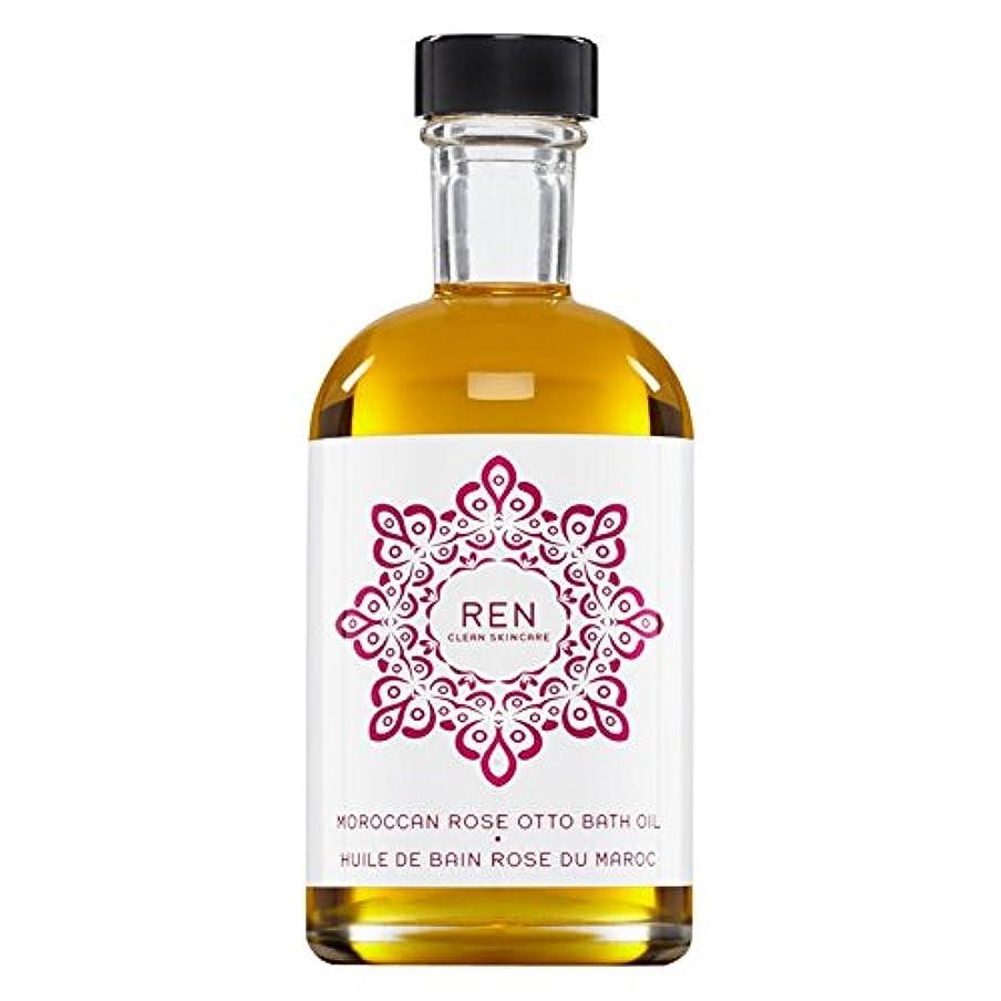 ツイン平らな素朴なRenモロッコは、バスオイルの100ミリリットルをオットーローズ (REN) (x6) - REN Moroccan Rose Otto Bath Oil 100ml (Pack of 6) [並行輸入品]