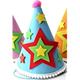 HuaQingPiJu-JP アップリケの誕生日キャップ子供の誕生日の装飾かわいい5つ星の星パターンCap_Blue