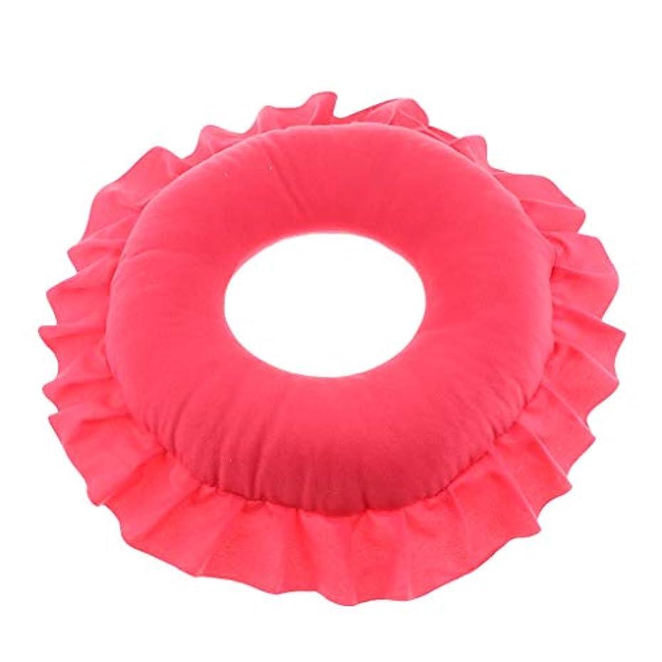 文字保有者力強い顔マク フェイスマット マッサージ枕 顔枕 ラウンド 直径30cm 洗える 柔らかい 快適 全4色 - 赤