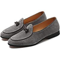 Happy-L Shoes, Retro Classic Oxford for Men Smoking Anti-Slip Loafers Slip on Genuine Leather Pointed Toe Solid Color Bow Decor Block Heel Rubber Sole