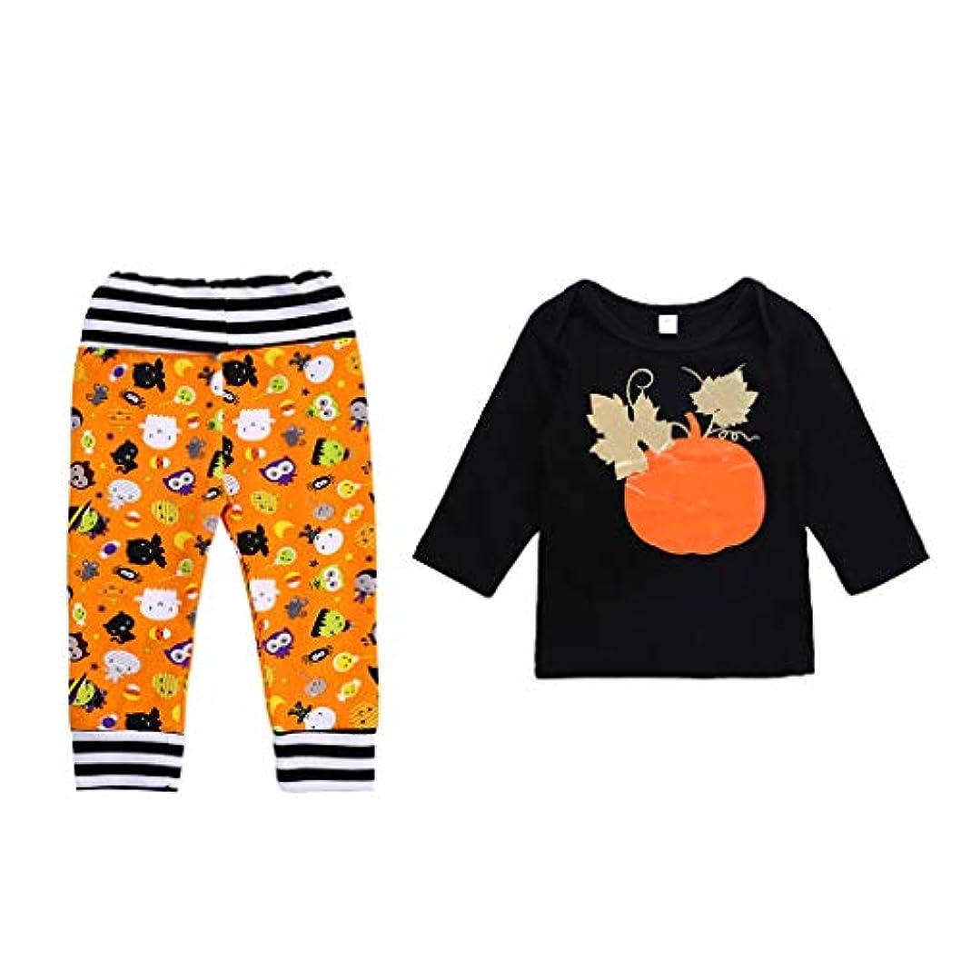 ラメ曲夢中CUTICATE ハロウィン男の子女の子服パンプキンジャンパーTシャツ+パンツカジュアル - 24ヶ月