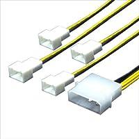 変換名人 ペリフェラル(大4ピン) → FAN用電源(3ピン)変換4分岐ケーブル IDEP-FAN3/4