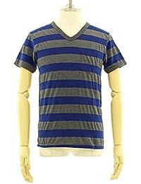 (ベルバシーン) Velva Sheen 胸ポケット付き ワイドボーダー VネックTシャツ [161406] NAVY/CHA M