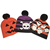 Fun Central BD027, 3 Pcs Assorted Ghost Pumpkin Skull LED Halloween Hat, Glowing Halloween Party Hat, Spooky Light Up Hat