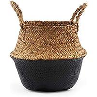 手編み 耐久性 折りたたみ式 収納バスケット プラントバスケット 天然ウィッカー麦わら織りバスケット ブルー S21803