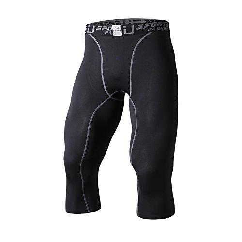 sillictor コンプレッション ショーツ メンズ ショート パワー パンツ コンプレッション タイツ [UVカット + 吸汗速乾] 七分丈 3327ブラック L