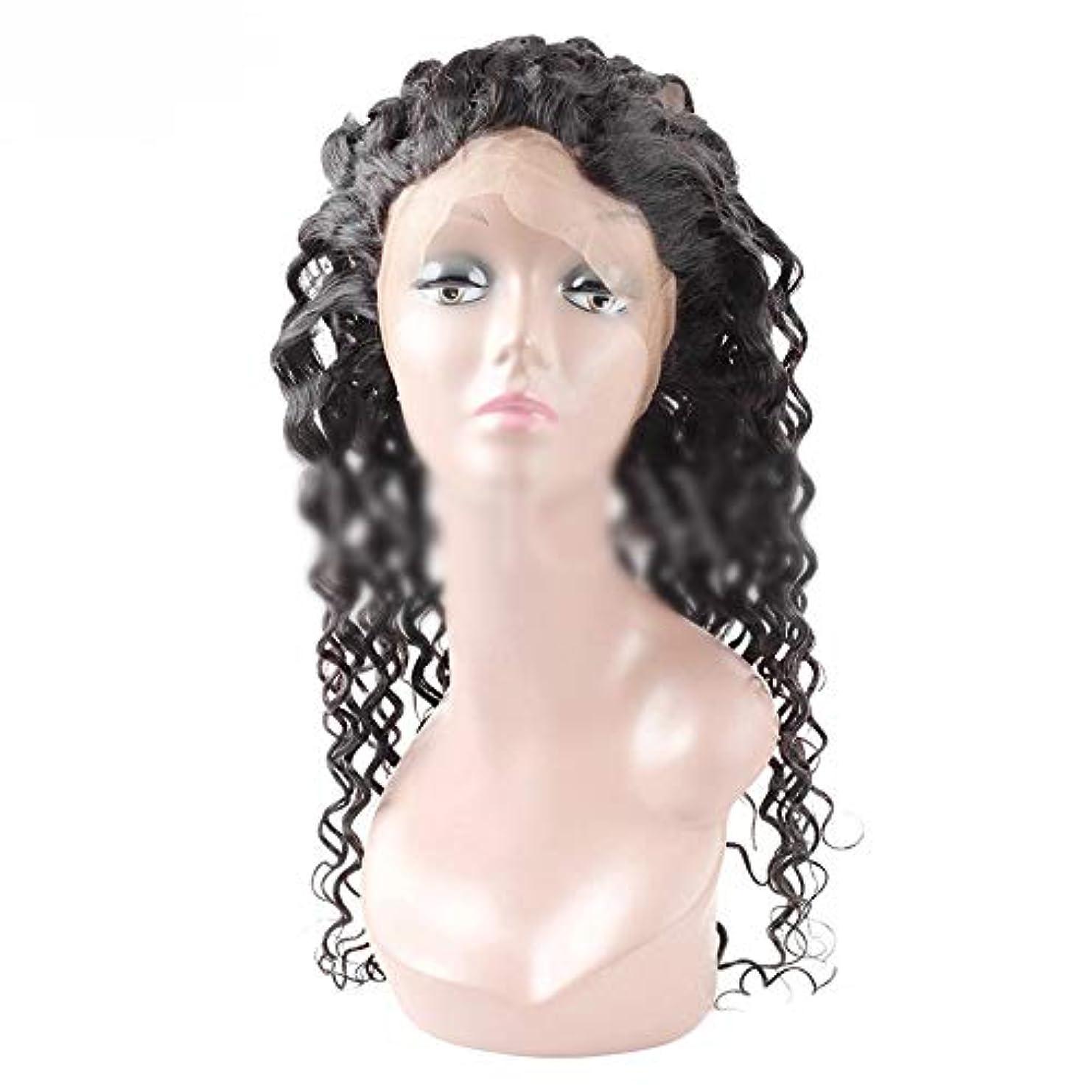 HOHYLLYA 360レース前頭葉9Aブラジル人間の髪水波レース前頭閉鎖ナチュラルカラー用女性合成ヘアレースかつらロールプレイングかつらロングとショート女性自然 (色 : ブラック, サイズ : 14 inch)