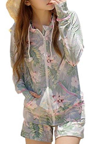 (Willing) ラッシュガード レディース 上下 セット パーカー ボタニカル柄 長袖 パンツ フード付き 体型カバー 大きいサイズ UVカット 水着 花柄 M L LL (07:ネイビー S)
