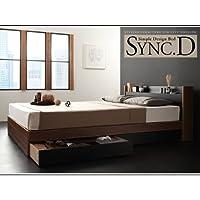 棚・コンセント付き収納ベッド sync.D シンク・ディ ボンネルコイルマットレス:レギュラー付き セミダブル ウォルナット×ブラック