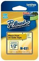 1/2 (12mm) Black on Gold P-touch M Tape for Brother PT-45 PT45 Label Maker [並行輸入品]