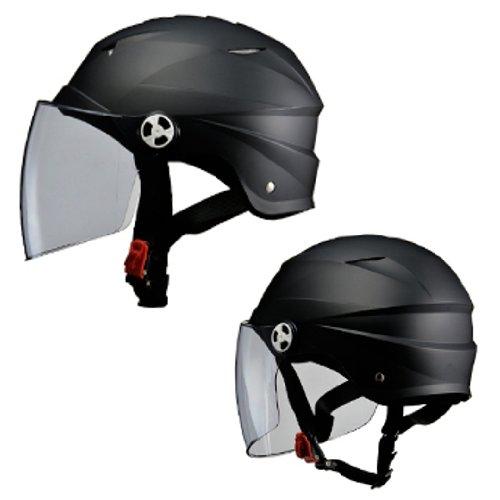 リード工業 バイクヘルメット ジェット SERIO RE40 シールド付きハーフヘルメット マットブラック フリーサイズ 57~60cm未満