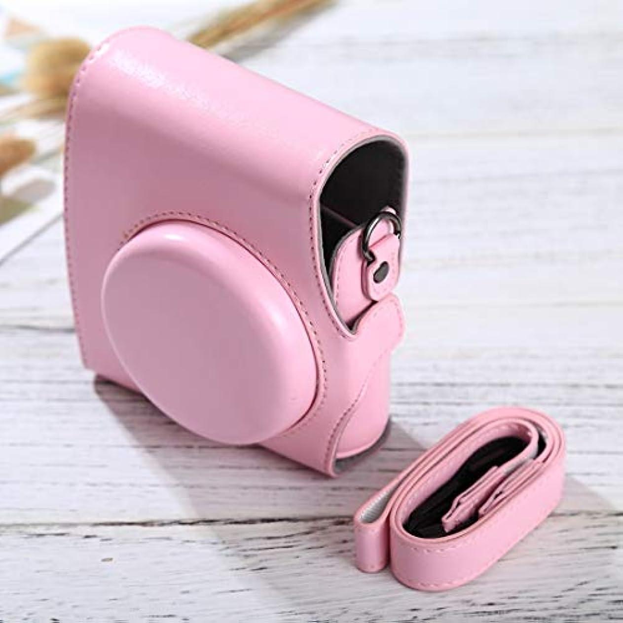 独立してお嬢赤KUNPN FUJIFILM instax mini 90/25/7/8/9用ストラップ付きフルボディカメラPUレザーケースバッグ (Color : ピンク)