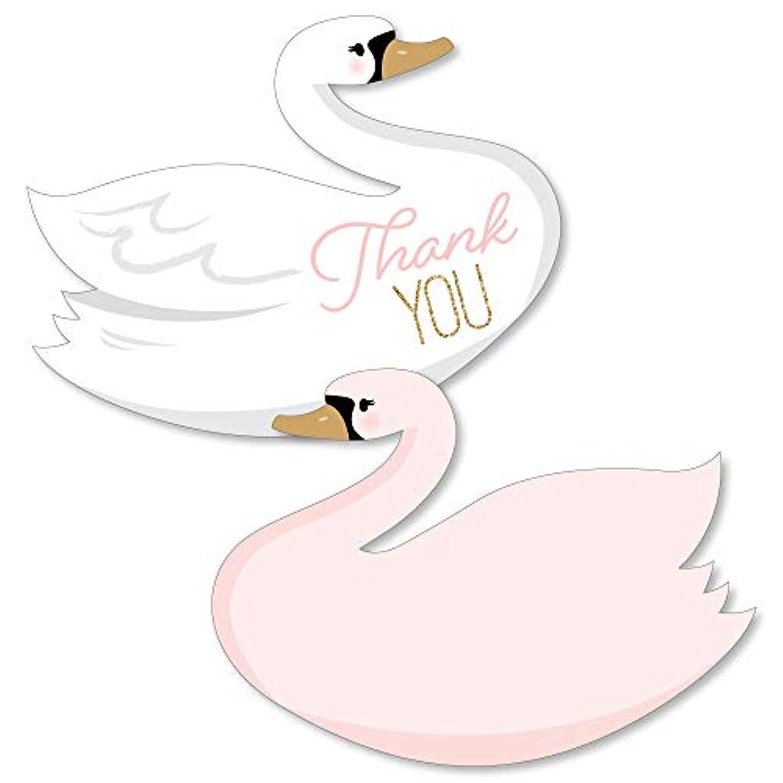 迷信くびれたまたはどちらかSwan Soiree - 形をしたサンキューカード - 白い白鳥のベビーシャワーや誕生日パーティーのサンキューカード 封筒付き - 12枚セット