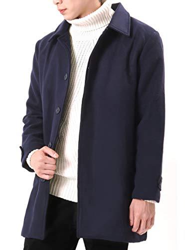 (オリマート)ORI-MART コート メンズ チェスターコート ステンカラー 暖かい ロング丈 アウター 秋冬 (LL, ネイビー)
