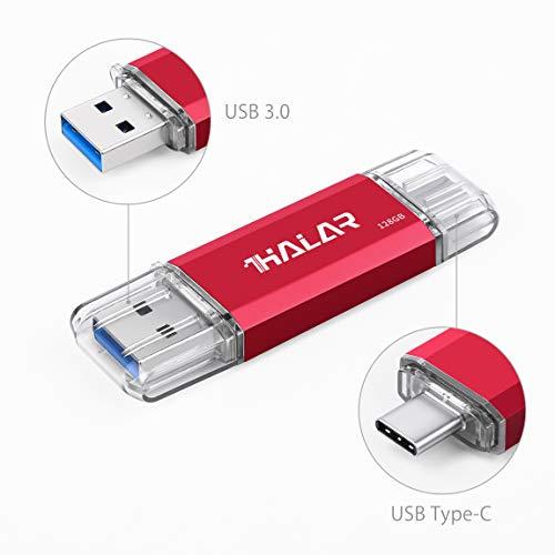 Thkailar 128GB タイプC USBフラッシュドライブ(Type - C usb3 1 gen1 + usb3 0)高速デュアルフラッシュディスクレッド (128GB, Red)