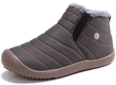 Sixspace スノーブーツ メンズ レディース ショート ブーツ スノーシューズ 防水 防寒 防滑 保暖 裏起毛 冬用 カジュアル 綿靴 雪靴 グレー 23cm