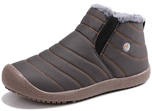 [SIXSPACE] スノーブーツ メンズ レディース ショート ブーツ スノーシューズ 防水 防寒 防滑 保暖 裏起毛 冬用 カジュアル 綿靴 雪靴 グレー 26cm