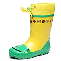 YangMi レインブーツ- 子供の三次元漫画のゴム製防水レインブーツ、男性と女性の赤ちゃんの屋外滑り止めブーツ (Color : Green, Size : 25/26 yards)