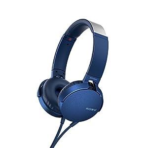 ソニー SONY ヘッドホン 重低音モデル MDR-XB550AP : 折りたたみ式 リモコン・マイク付き ブルー MDR-XB550AP L