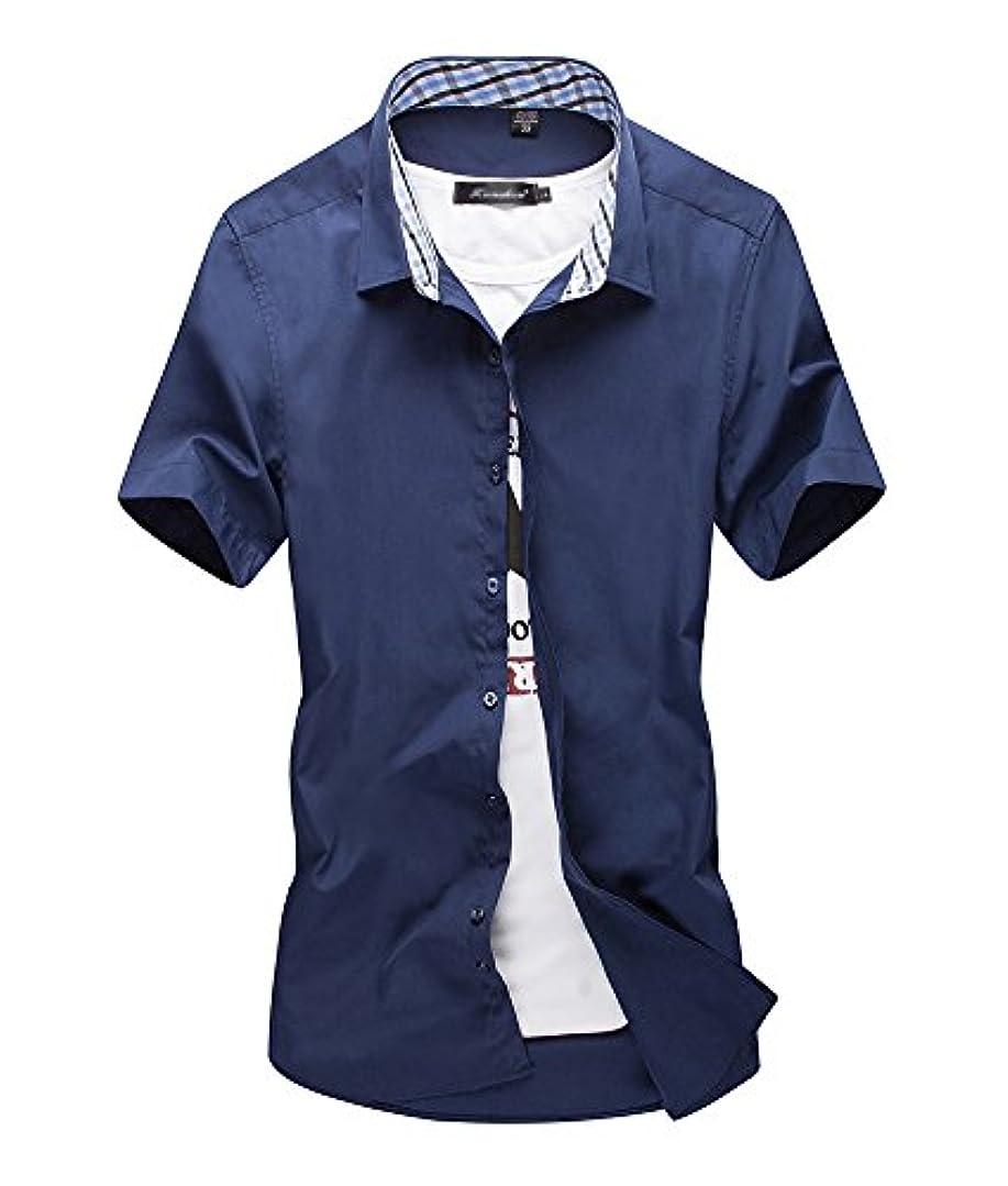 散歩に行く公平なカポック[スゴフィ]SGFY  メンズ ポロシャツ チェック柄の襟 無地 カジュアル シャツ ゴルフ ウェア (XL, ネイビー)