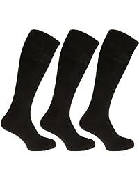 メンズ 綿100% リブハイソックス 靴下セット (3足組) 男性用 (24.5-29.5cm) (ブラック)