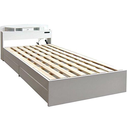 タンスのゲン 収納付きベッド シングルベッド 宮・ライト付き すのこマット フレームのみ ホワイト 11719111 WH