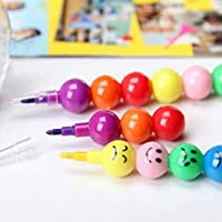 ecurson新しいアートSupplies for図面、ペイントand More、7色かわいいStackerスワップSmile Faceクレヨン – Makes a Great Gift for Children and大人