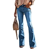 luvamia Women's Ripped Flare Bell Bottom Jeans Pants Retro Wide Leg Denim Pants