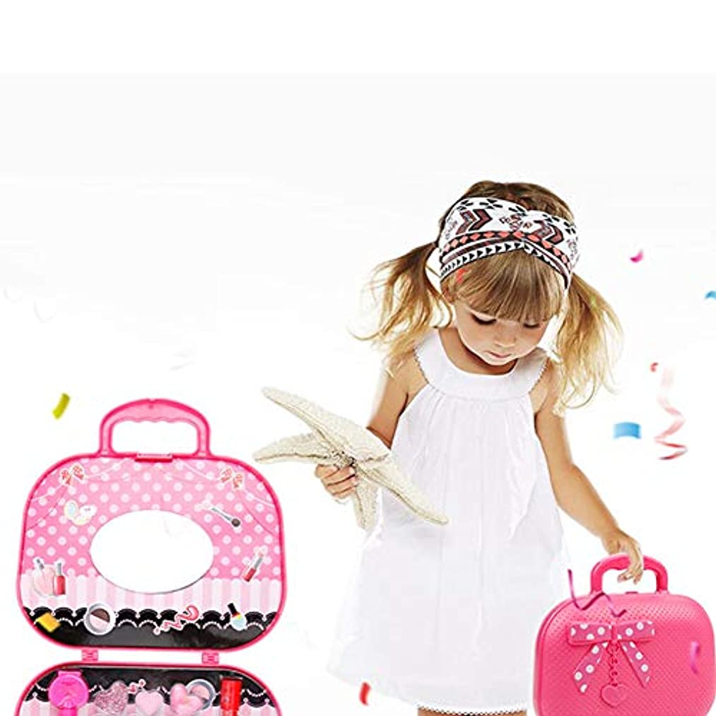 遊び場彫る無能かわいいプリンセスふりメイクセットキッズガールズシミュレーション口紅子供のおもちゃ - ピンク