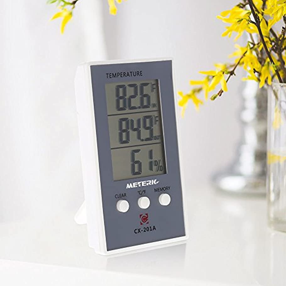 うがい詐欺近傍Wunes - デジタル温度計湿度計ウェザーステーションテスターの温湿度測定屋内/屋外の最大最小値表示