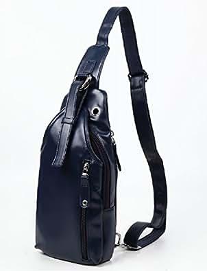 2key 3色 ショルダーバッグ レザー 防水 革 メンズ 大容量 斜めがけ カジュアル バッグ (ネイビー(紺))