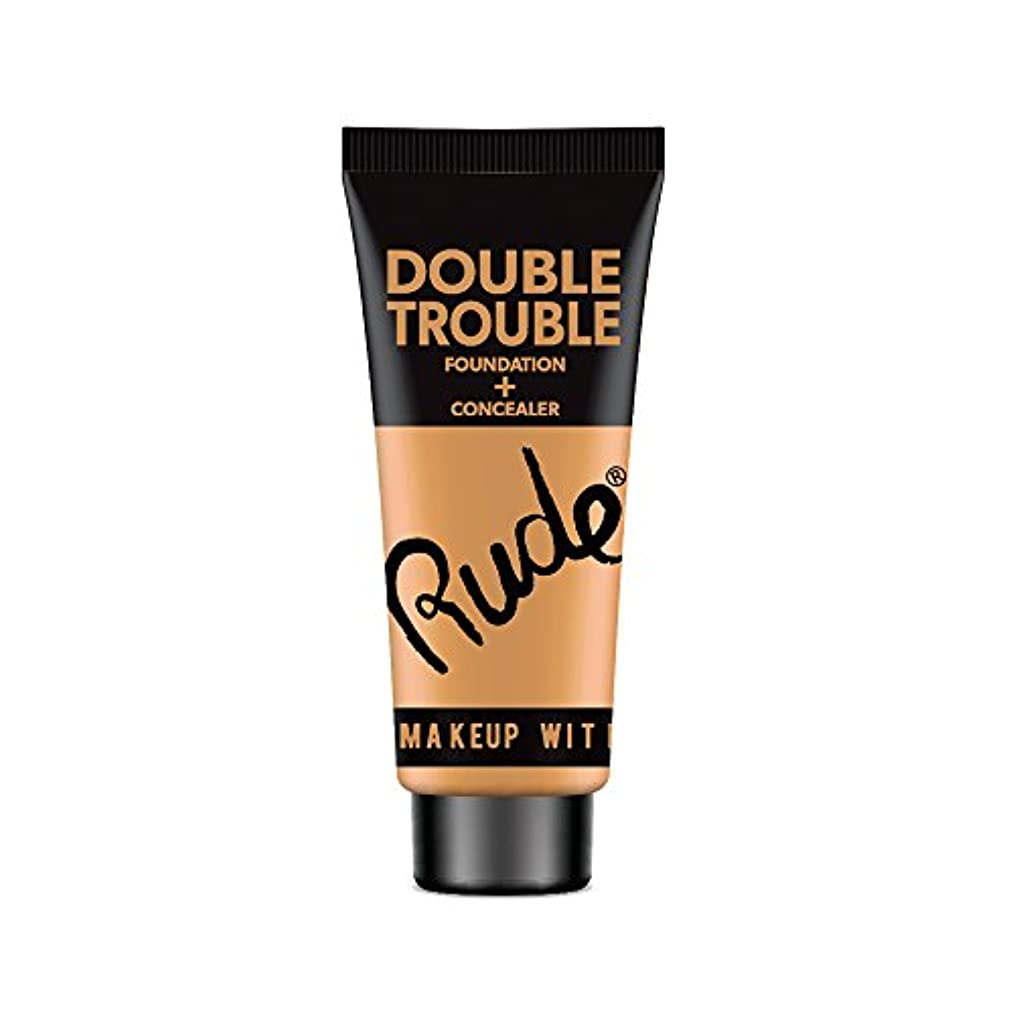 アルネにはまって挑む(6 Pack) RUDE Double Trouble Foundation + Concealer - Warm Natural (並行輸入品)