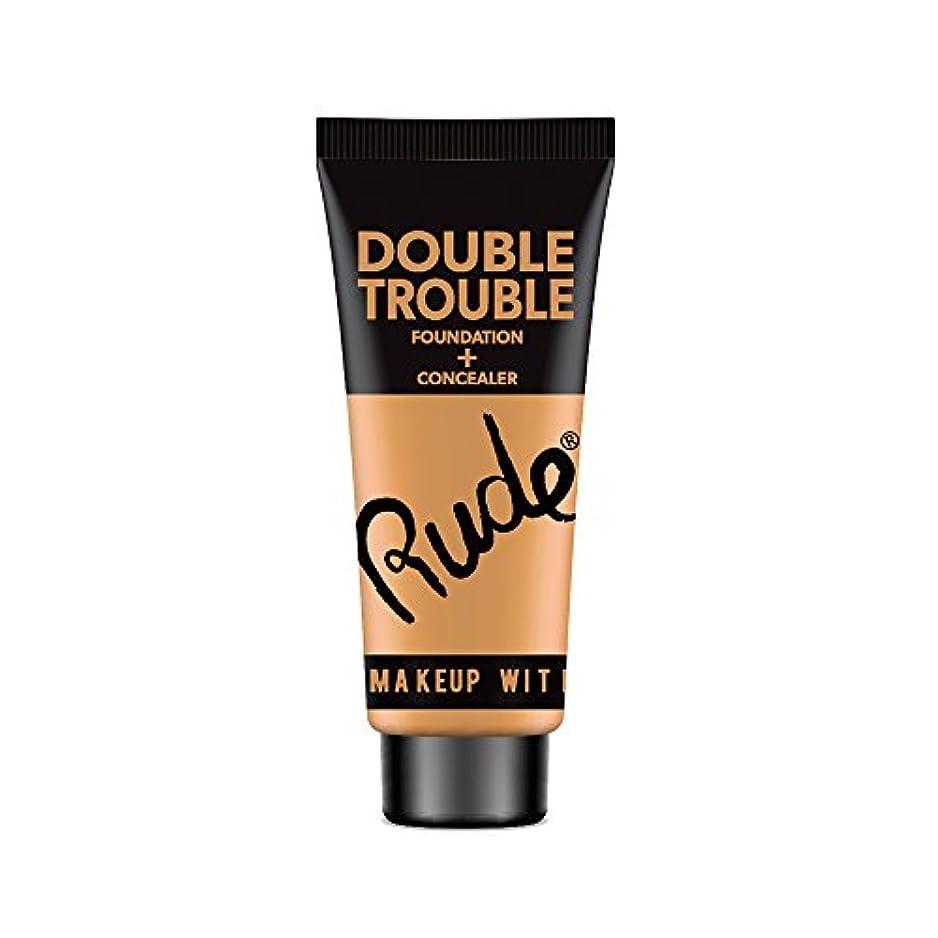 コーヒーに対応邪魔(6 Pack) RUDE Double Trouble Foundation + Concealer - Warm Natural (並行輸入品)