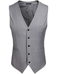(クーファンディ)Coofandy ジレ ベスト メンズ ビジネス フォーマル スーツ仕立て 2ポケット 5ボダン スリム フィット Vネック 紳士 尾錠付き 上質 黒 グレー S~XXL