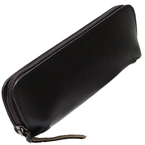 ルジート ペンケース 革 無地 大容量 ファスナー メンズ ブラック