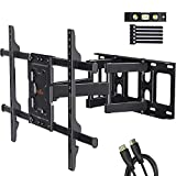 Perlegear Full Motion TV Wall Mount Bracket Dual Articulating Arms Swivels Tilts Rotation for Most 37-70 Inch LED, LCD, OLED Flat&Curved TVs, Holds up to 132lbs, Max VESA 600x400mm