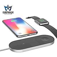 ワイヤレス充電器【第二代・革新 2in1】EURPMASK Qi急速 Apple Watch & iPhoneX/8/8 Plus同時に充電可 Apple7.5w/Samsung 10W 急速充電対応 置くだけ充電 Apple/Samsungワイヤレス充電 スタンド iPhone8 / iPhone 8 Plus / iPhone X / Samsung Galaxy S9 / S9 Plus / Note 8/ S8 / S8 Plus / S7 Edge / Nexus / Kyocera/他Qi対応機種 ワイヤレス充電可能「品質保証」 (ブラック)