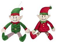 Christmas Elf Plush Toy - 2-Pack Little Santa Helper Kids Soft Stuffed Toy, Fun Holiday Party Gifts Girls, Boys, Festive Decoration, Red, Green, 32cm x 7.6cm