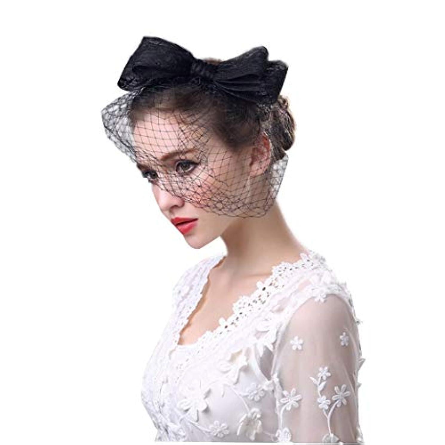 スキーなくなる現在ブライダルヘッドドレス、弓帽子ヴィンテージヘッドドレス手作りイギリスファッションレディースリネン帽子フラワーフェザーメッシュベールウェディングティーパーティー