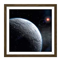 Space ESO Icy Exoplanet Planet Star Orbit Illustration Square Wooden Framed Wall Art Print Picture 16X16 Inch スペース惑星星図木材壁画像