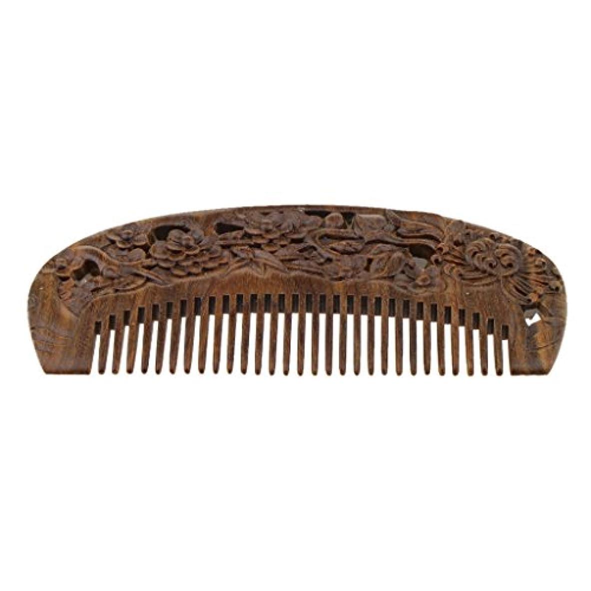 シルク致命的種SM SunniMix 木製コーム ウッドコーム ワイド歯 ヘアブラシ 頭皮マッサージ ヘアスタイリング 全2種類 - #2