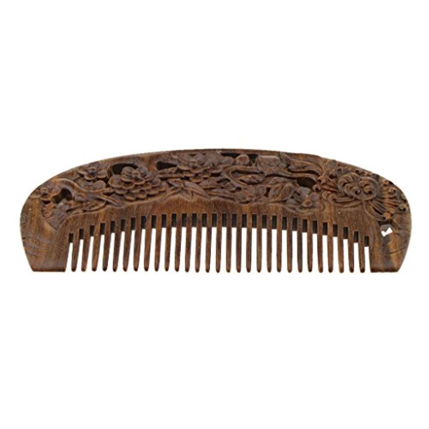 音楽を聴く拡張遺産ナチュラル ウッドコーム 木製コーム 頭皮マッサージ ワイド歯 ヘアブラシ ヘアスタイリング 2タイプ選べる - #2