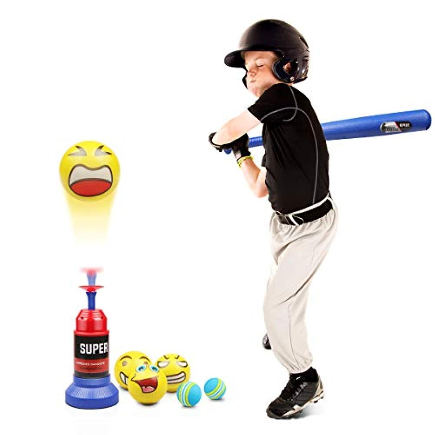 誤解衝突する不完全Lydaz ティーボールセット 自動ベースボールランチャー ソフトボール5個と伸縮性バット付き 幼児用アウトドアおもちゃ 2 3 4歳 男の子 女の子